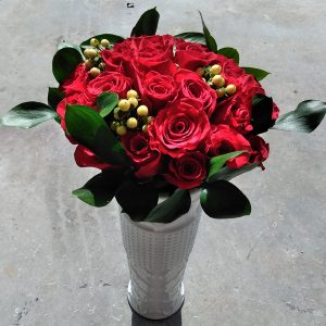 25 red roses front