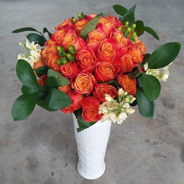 50 orange roses front